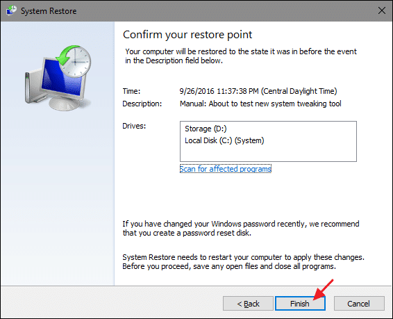 Step 3: Restore Your PC