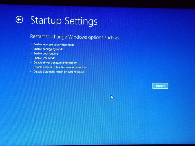 startup settings enalbe safe mode