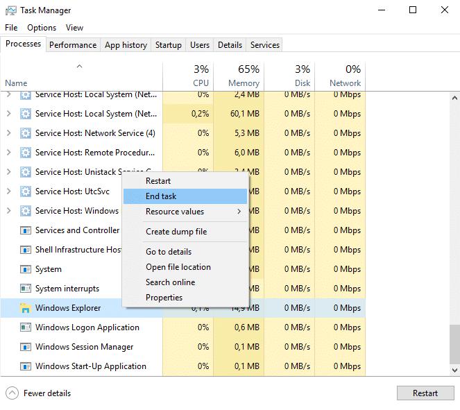 windows explorer end task