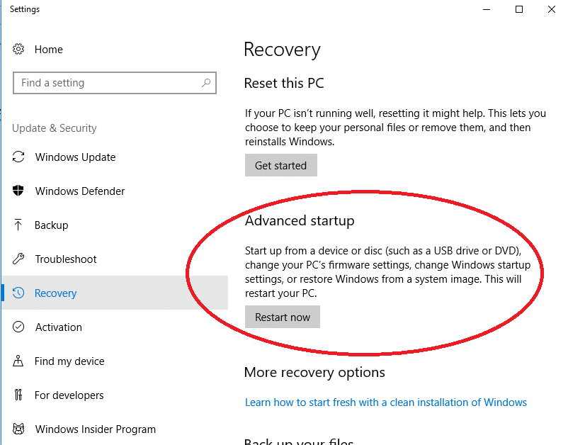 recovery advanced start up