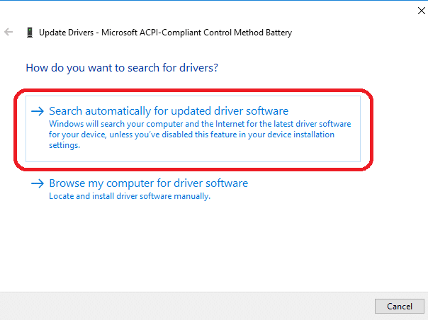 search automatically for updated drivers