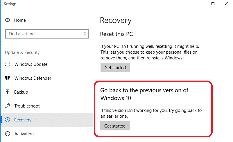 windows recovery option