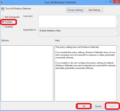 enable policy that disables windows defender
