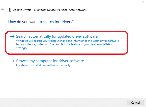 automatically search for driver