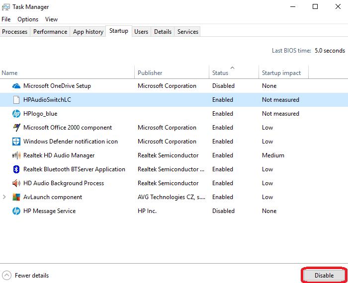 Task Manager startup tab