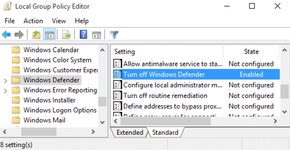 how to disable windows defender via group policy