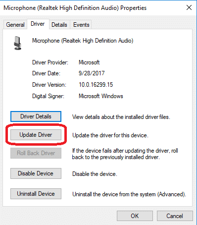 update driver from device manager tab