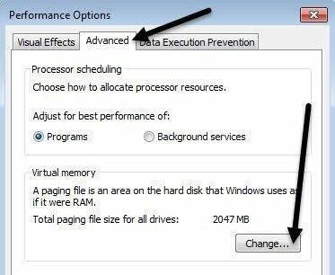 virtual memory change