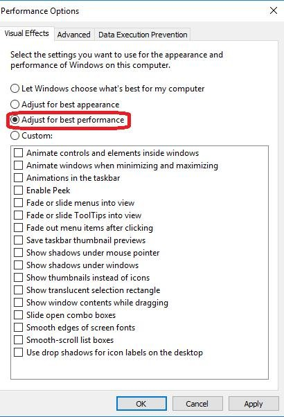select adjusted for best performance in performance options