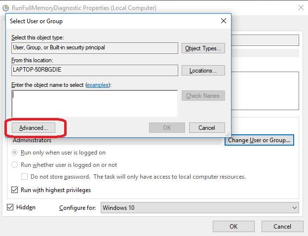 advanced button in select user or group