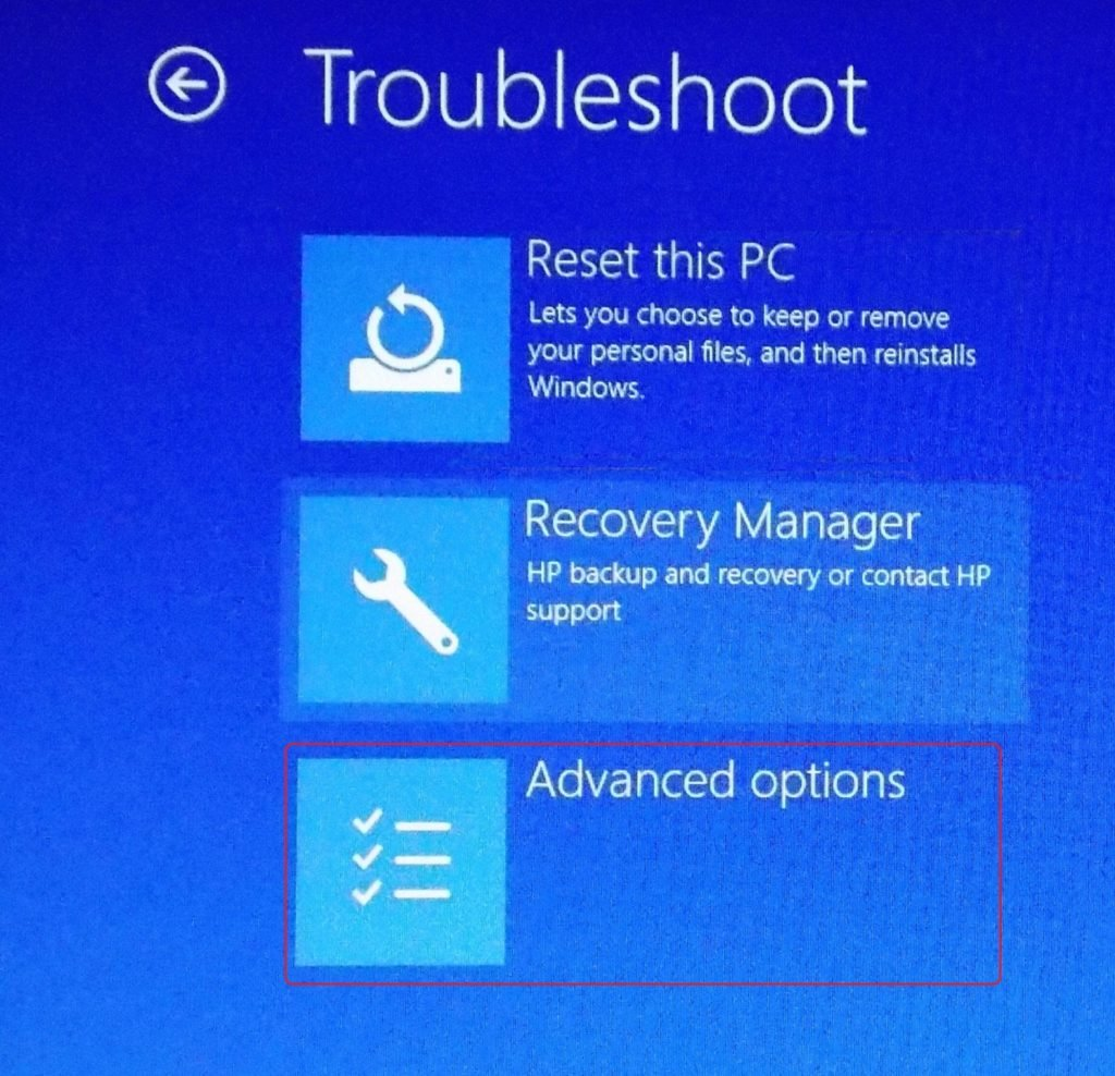 advanced options in troubleshoot