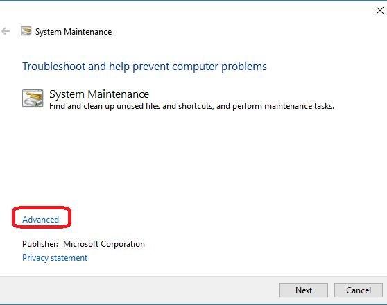 advanced button on system maintenance