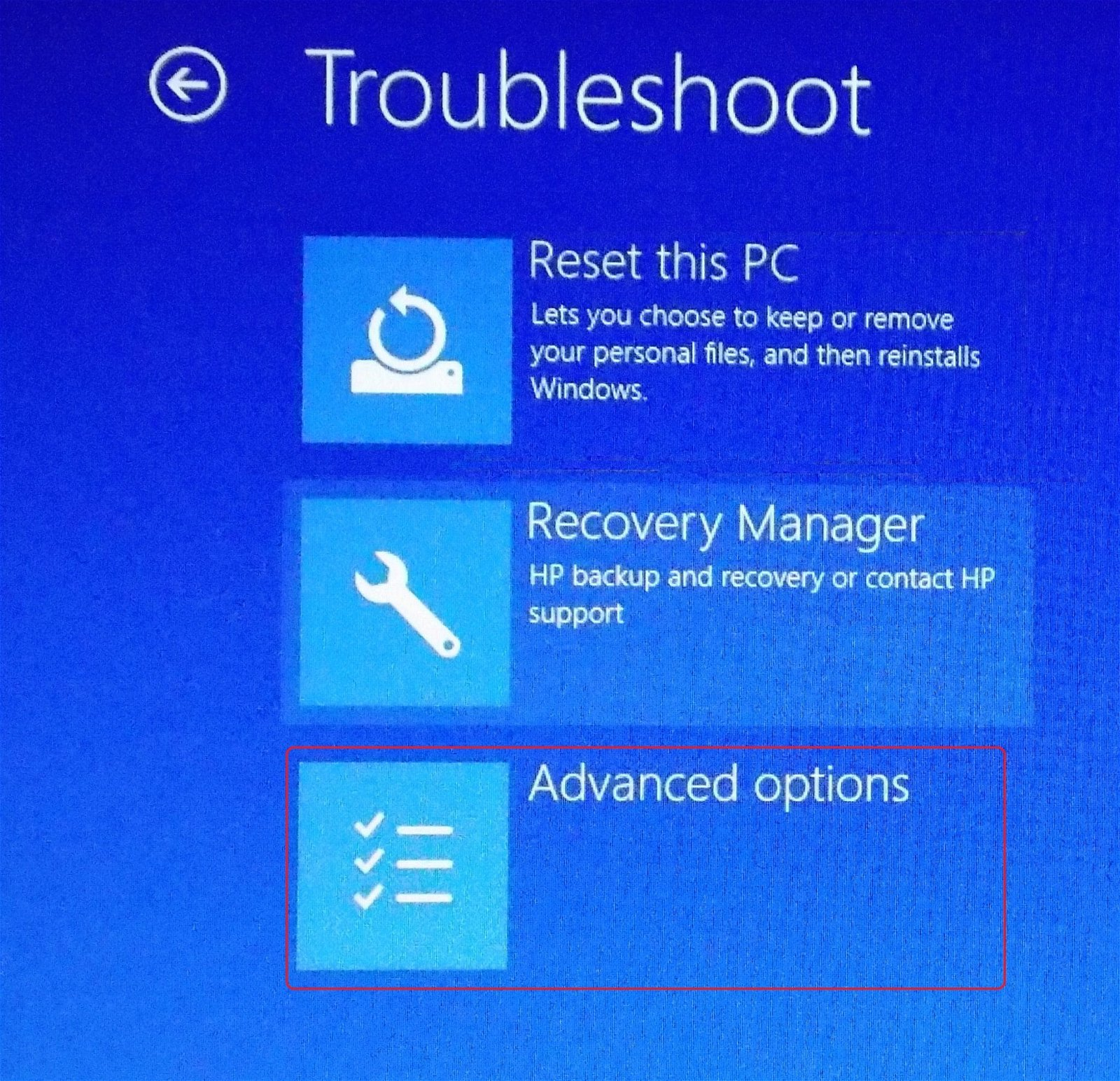 advanced options on troubleshoot menu