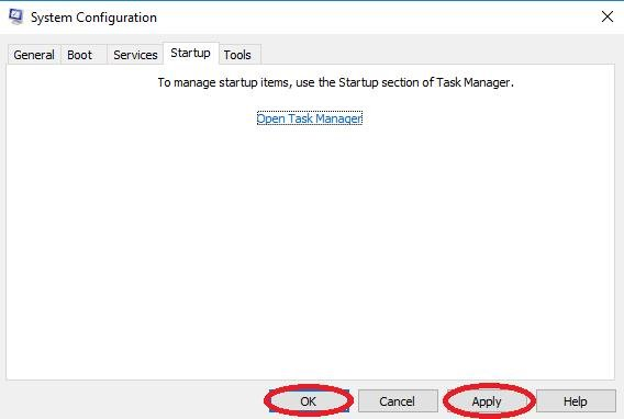 apply button in system configuration window