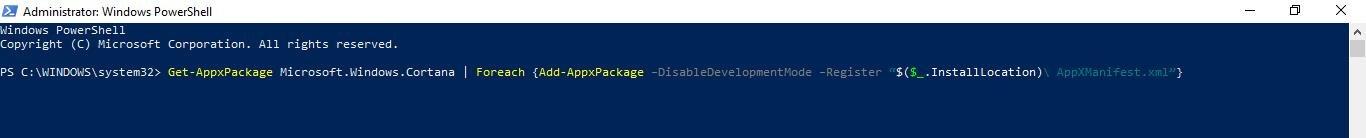 type get appxpackage microsoft.windows.cortana