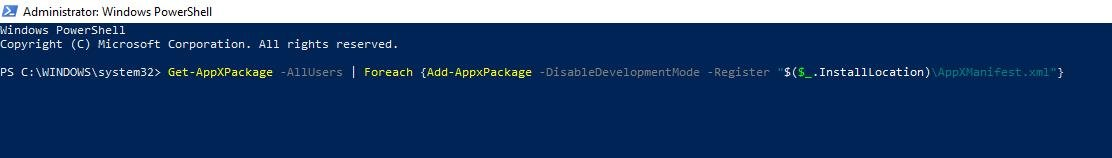 copy and paste the command of get appxpackage
