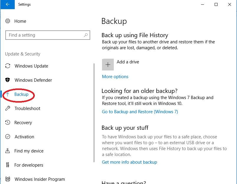 backup under update and security