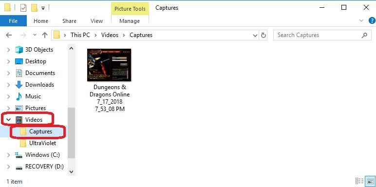 captures folder under videos folder