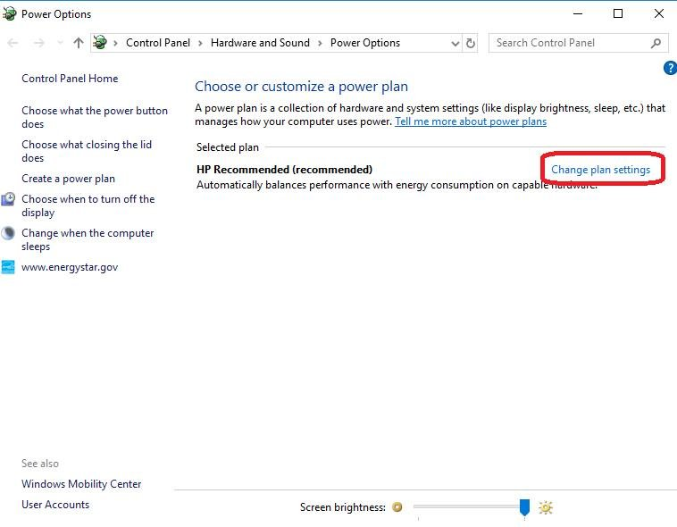 change plan settings on power options