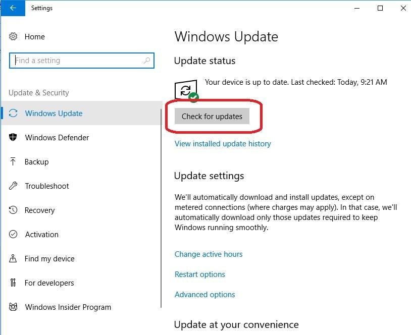 check updates under update status
