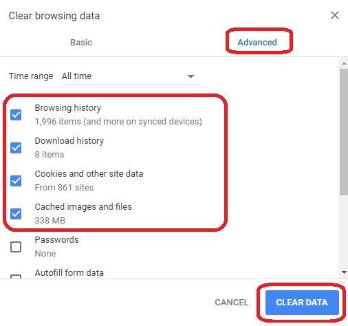 clear data in advanced tab