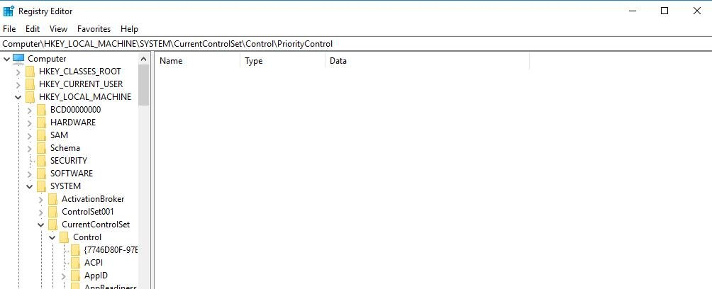 select currentcontrolset then control