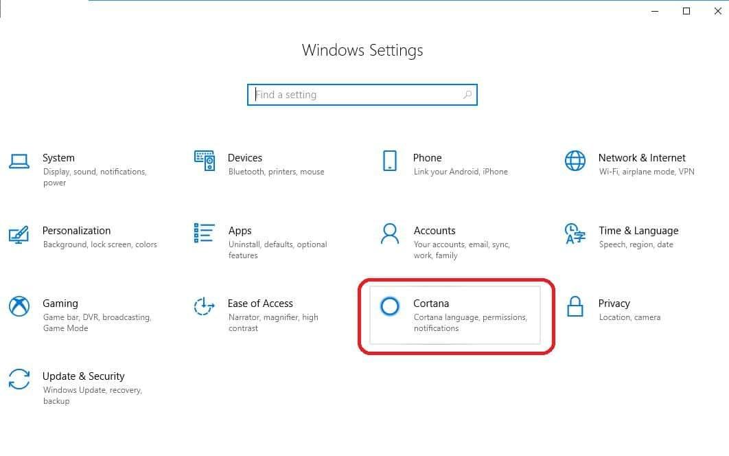 choose cortana in windows settings