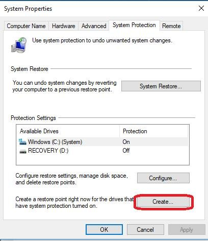 create button under protection settings