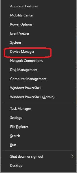 device manager in quick link menu