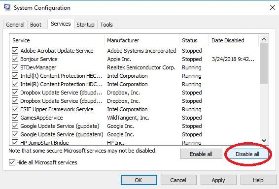 disable all in services tab