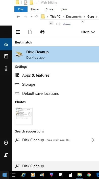 disk cleanup on start menu