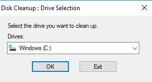 disk cleanup on drive selection