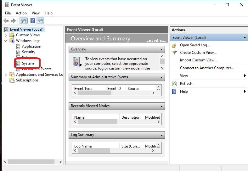 event viewer system