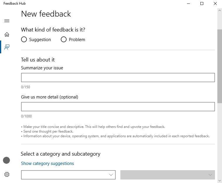 feedback hub opens