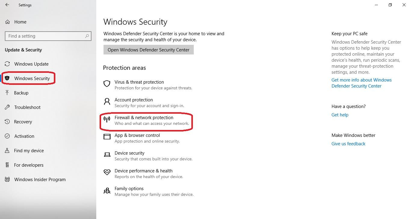 firewall and network protection under windows security