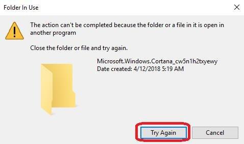 folder in use try again
