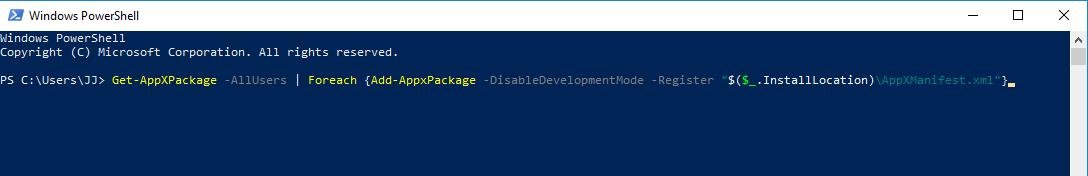 copy command get appxpackage