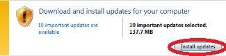 click install updates button