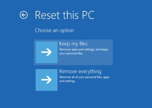 keep my files option in reset this pc