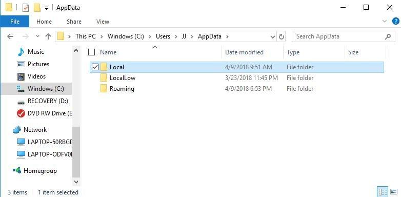 go to windows explorer local folder