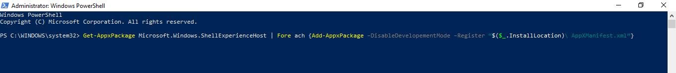 type get appxpackage microsoft.windows.shellexperiencehost