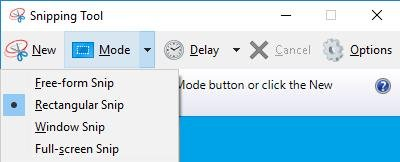 snipping tools mode options