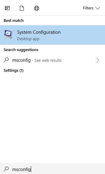 msconfig on search box