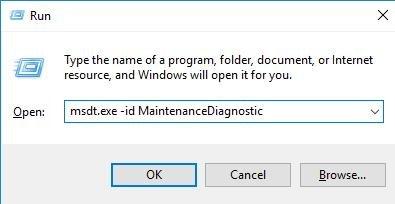 msdt.exe -id MaintenanceDiagnostic on run box