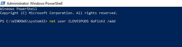 net user powershell prompt