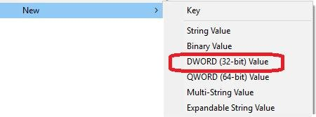 select new then dword 32-bit value