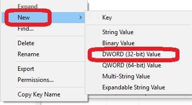 new then dword 32 bit value