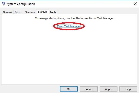 open task manager link on system configuration