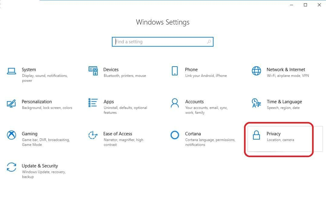 privacy in windows security