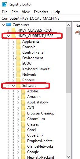 HKEY_CURRENT_USER then Software in register editor window